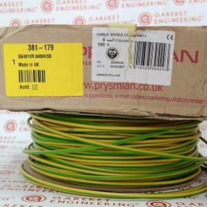 6491X 4,0 мм² Электрический провод, проводку, 450/750B.Цвет: зеленый-желтый 100M/6491X PVC Single Core PVC Cable Green-Yellow