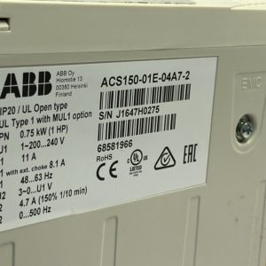 ACS150-01E-04A7-2 Преобразователь частоты 0.75 кВт, 220В, 1 фаза, IP20 ABB